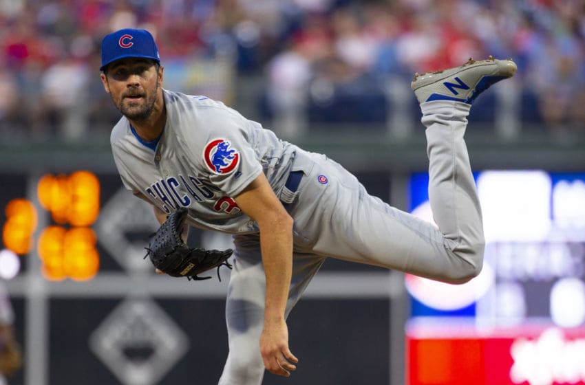 PHILADELPHIA, PA - AUGUST 14: Cole Hamels #35 of the Chicago Cubs throws a pitch in the bottom of the second inning against the Philadelphia Phillies at Citizens Bank Park on August 14, 2019 in Philadelphia, Pennsylvania. The Phillies defeated the Cubs 11-1. (Photo by Mitchell Leff/Getty Images)