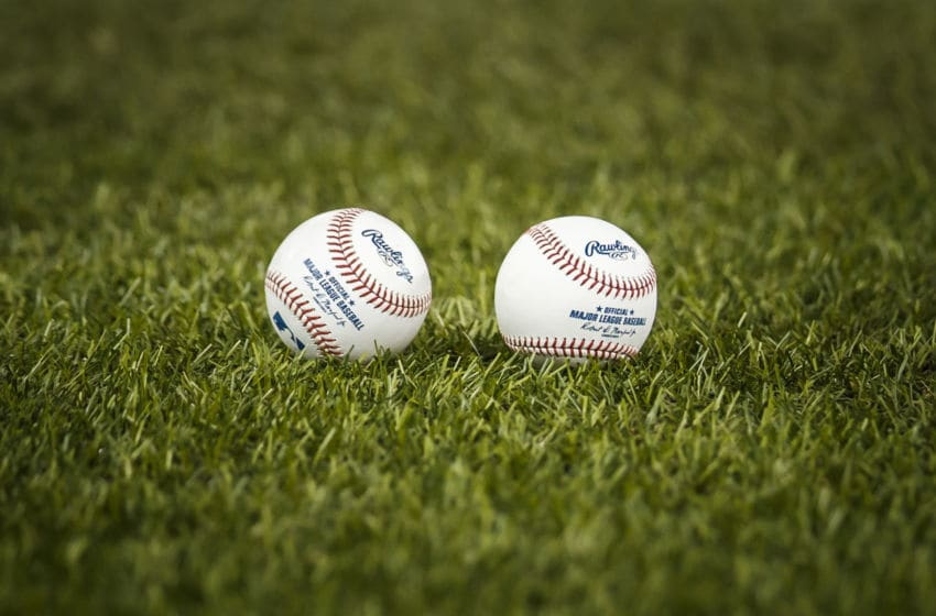TORONTO, ONTARIO - JULY 05: Baseballs lay in the turf before the Toronto Blue Jays play the Baltimore Orioles in their MLB game at the Rogers Centre on July 5, 2019 in Toronto, Canada. (Photo by Mark Blinch/Getty Images)