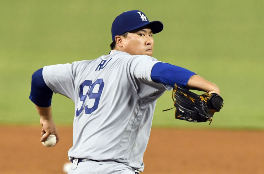 WASHINGTON, DC - JULY 26: Hyun-Jin Ryu #99 of the Los Angeles Dodgers pitches during a baseball game against the Washington Nationals at Nationals Park on July 26, 2019 in Washington, DC. (Photo by Mitchell Layton/Getty Images)