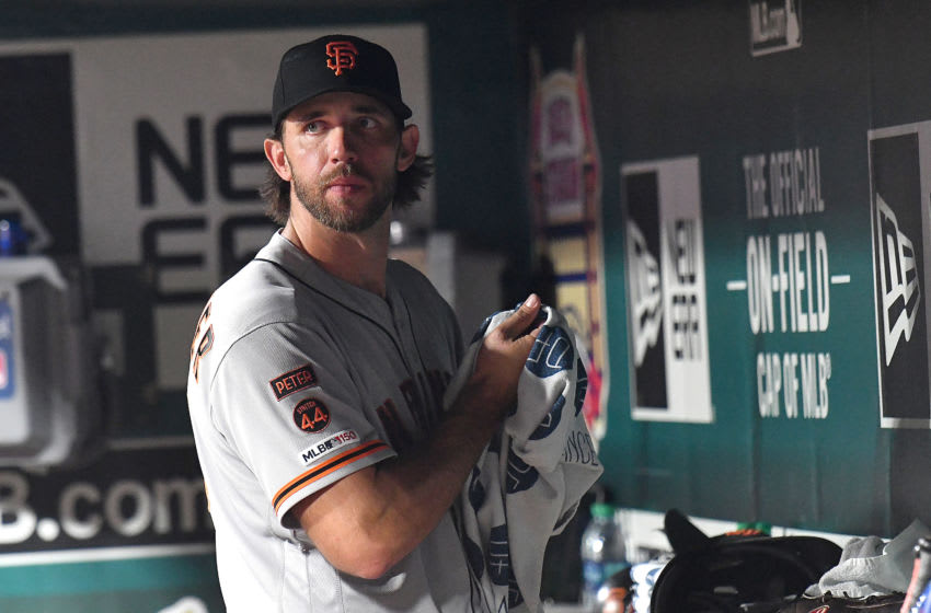 ST. LOUIS, MO. - SEPTEMBER 04: San Francisco Giants starting pitcher Madison Bumgarner (40) in the dugout after being relieved in the sixth inning during a Major League Baseball game between the San Francisco Giants and the St. Louis Cardinals on September 04, 2019, at Busch Stadium, St. Louis, MO. (Photo by Keith Gillett/Icon Sportswire via Getty Images)