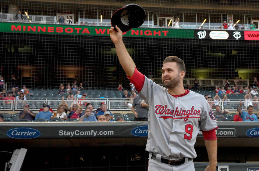 MINNEAPOLIS, MINNESOTA - SEPTEMBER 10: Brian Dozier #9 of the Washington Nationals acknowledges the fans after the Minnesota Twins honored their former second basemen before the interleague game at Target Field on September 10, 2019 in Minneapolis, Minnesota. (Photo by Hannah Foslien/Getty Images)