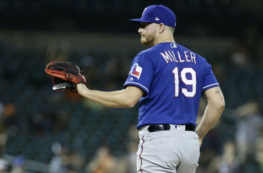DETROIT, MI - JUNE 25: Shelby Miller #19 of the Texas Rangers after giving up a two-run home run to Ronny Rodriguez of the Detroit Tigers during the ninth inning at Comerica Park on June 25, 2019 in Detroit, Michigan. The Rangers defeated the Tigers 5-3. (Photo by Duane Burleson/Getty Images)