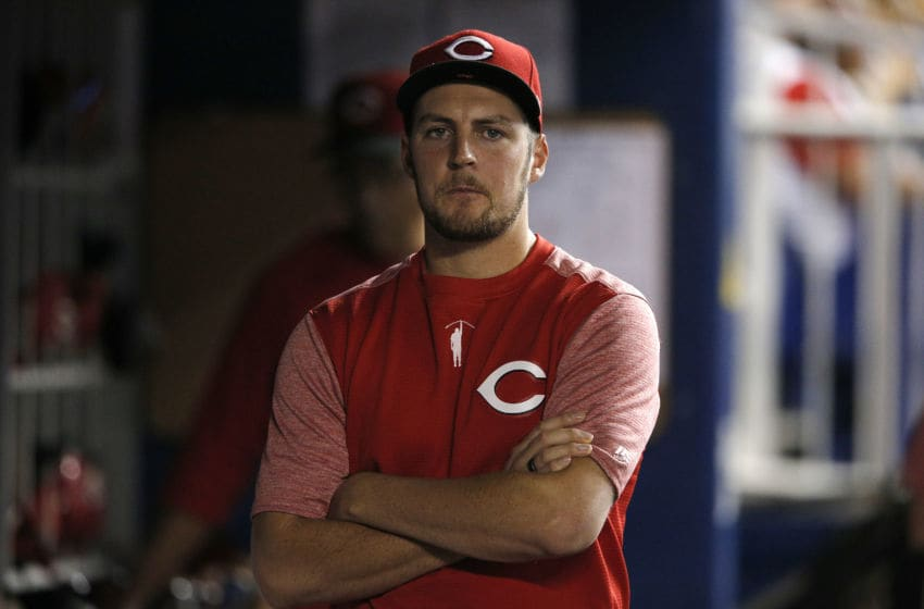 MIAMI, FLORIDA - AUGUST 28: Trevor Bauer #27 of the Cincinnati Reds looks on against the Miami Marlins at Marlins Park on August 28, 2019 in Miami, Florida. (Photo by Michael Reaves/Getty Images)