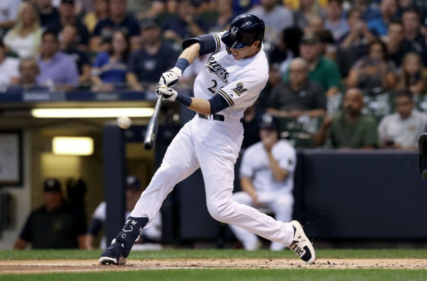 MILWAUKEE, WISCONSIN - SEPTEMBER 03: Christian Yelich #22 of the Milwaukee Brewers hits a double in the first inning against the Houston Astros at Miller Park on September 03, 2019 in Milwaukee, Wisconsin. (Photo by Dylan Buell/Getty Images)