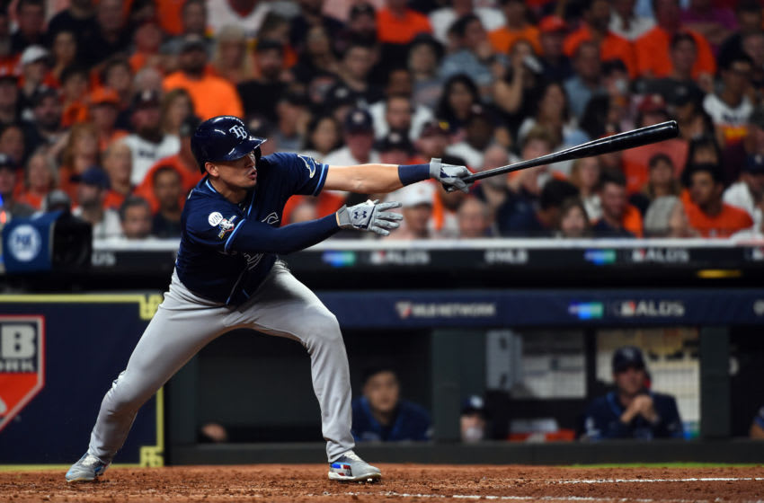 HOUSTON, TX - OCTOBER 05: Willy Adames #1 of the Tampa Bay Rays singles in the sixth inning during Game 2 of the ALDS between the Tampa Bay Rays and the Houston Astros at Minute Maid Park on Saturday, October 5, 2019 in Houston, Texas. (Photo by Cooper Neill/MLB Photos via Getty Images)