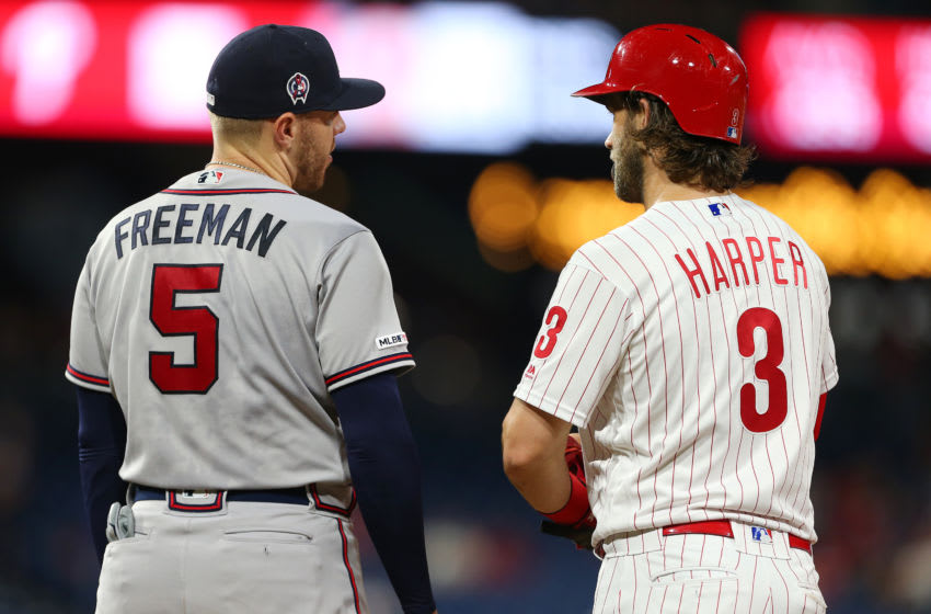 PHILADELPHIA, PA - SEPTEMBER 11: Freddie Freeman #5 of the Atlanta Braves and Bryce Harper #3 of the Philadelphia Phillies during a game at Citizens Bank Park on September 11, 2019 in Philadelphia, Pennsylvania. (Photo by Rich Schultz/Getty Images)