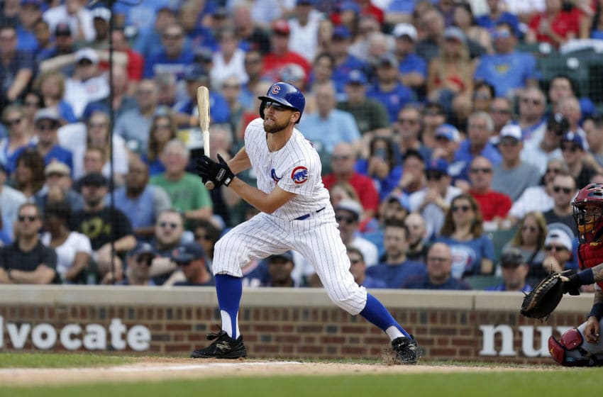 CHICAGO, ILLINOIS - SEPTEMBER 20: Ben Zobrist #18 of the Chicago Cubs at bat during the game against the St. Louis Cardinals at Wrigley Field on September 20, 2019 in Chicago, Illinois. (Photo by Nuccio DiNuzzo/Getty Images)