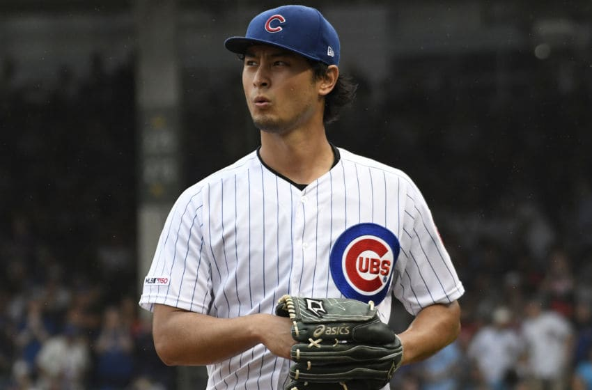 CHICAGO, ILLINOIS - SEPTEMBER 22: Yu Darvish #11 of the Chicago Cubs pitches \a at Wrigley Field on September 22, 2019 in Chicago, Illinois. (Photo by David Banks/Getty Images)