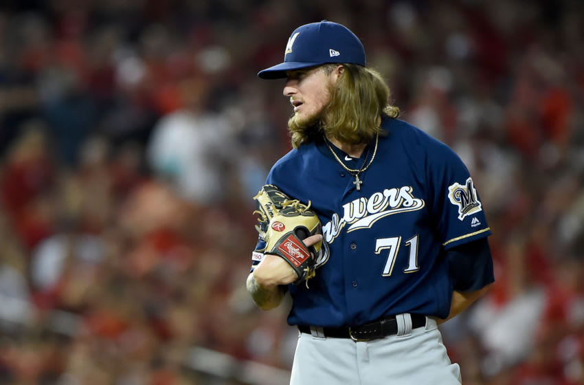 WASHINGTON, DC - OCTOBER 01: Josh Hader #71 of the Milwaukee Brewers pitches against the Washington Nationals during the National League Wild Card game at Nationals Park on October 1, 2019 in Washington, DC. (Photo by Will Newton/Getty Images)