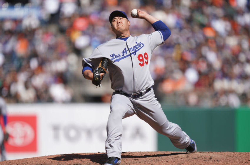 SAN FRANCISCO, CALIFORNIA - SEPTEMBER 28: Hyun-Jin Ryu #99 of the Los Angeles Dodgers pitches against the San Francisco Giants in the bottom of the fifth inning at Oracle Park on September 28, 2019 in San Francisco, California. (Photo by Thearon W. Henderson/Getty Images)