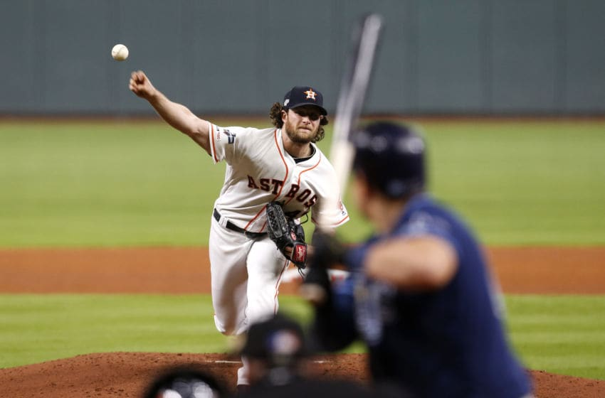 HOUSTON, TEXAS - OCTOBER 05: Gerrit Cole #45 of the Houston Astros pitches to Ji-Man Choi #26 of the Tampa Bay Rays in the fourth inning of Game 2 of the ALDS at Minute Maid Park on October 05, 2019 in Houston, Texas. (Photo by Tim Warner/Getty Images)