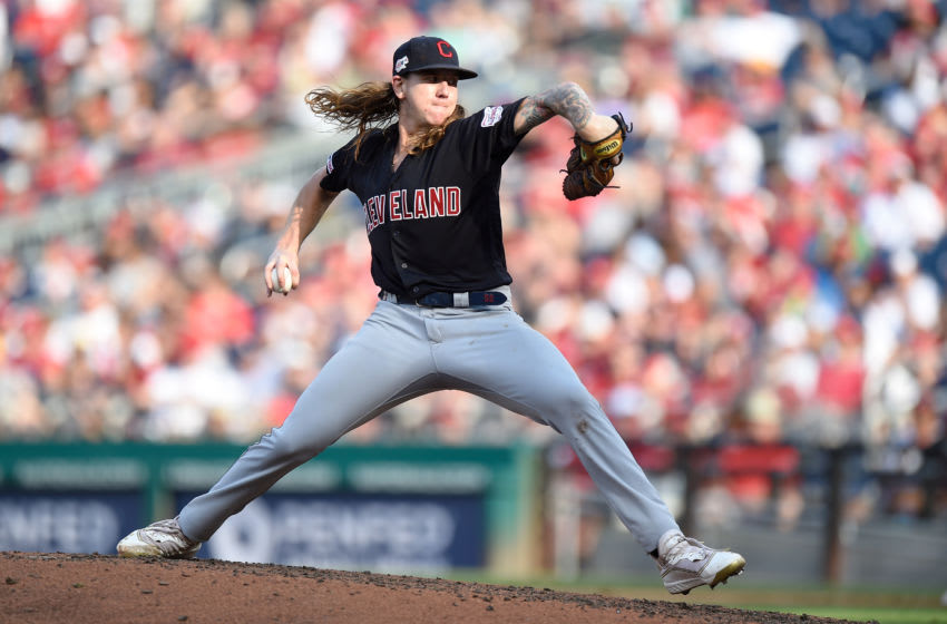WASHINGTON, DC - SEPTEMBER 29: Mike Clevinger #52 of the Cleveland Indians pitches against the Washington Nationals at Nationals Park on September 29, 2019 in Washington, DC. (Photo by G Fiume/Getty Images)