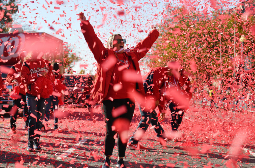 WASHINGTON, DC NOVEMBER 02: Confetti is sprayed in the air as thousands of Washington Nationals fans cheer with jubilation as they celebrate the Nationals winning its first World Series on November, 02, 2019. (Photo by Marvin Joseph/The Washington Post via Getty Images)