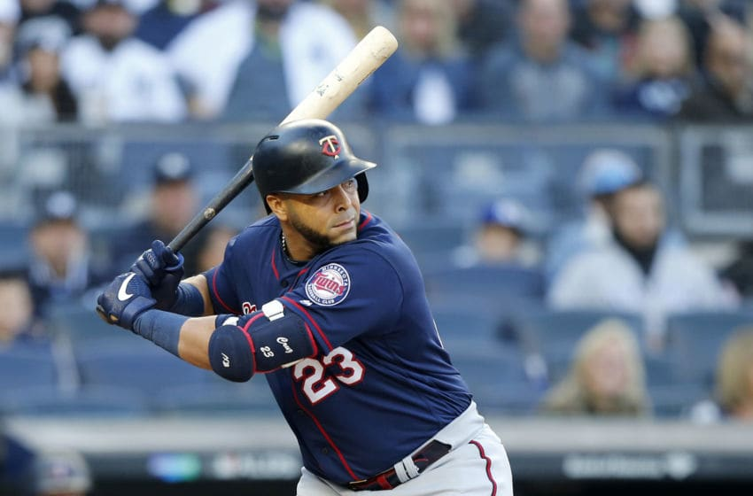 NEW YORK, NEW YORK - OCTOBER 05: (NEW YORK DAILIES OUT) Nelson Cruz #23 of the Minnesota Twins in action against the New York Yankees in game two of the American League Division Series at Yankee Stadium on October 05, 2019 in New York City. The Yankees defeated the Twins 8-2. (Photo by Jim McIsaac/Getty Images)