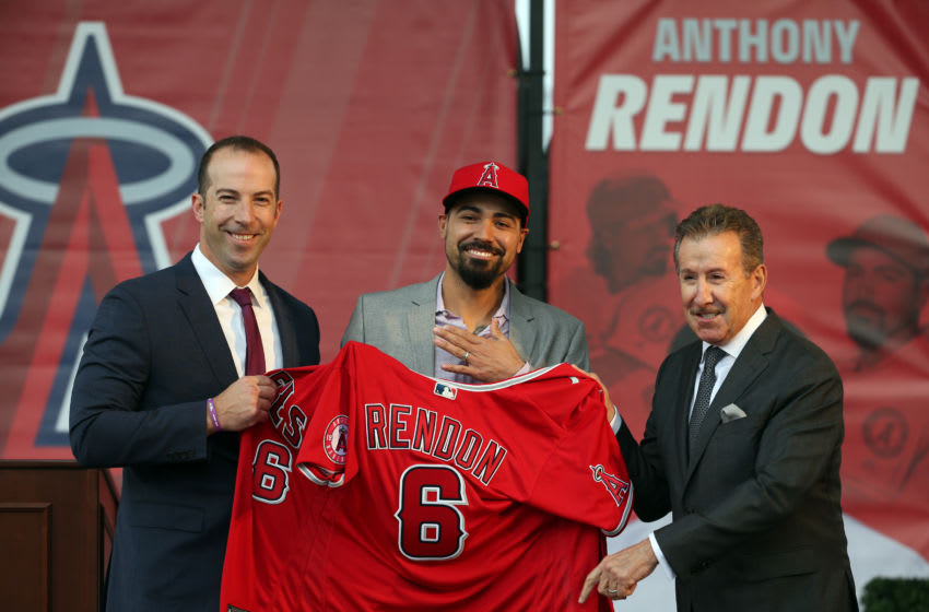 ANAHEIM, CA - DECEMBER 14: Los Angeles Angels owner Arte Moreno and general manager Billy Eppler look on as newly acquired third baseman Anthony Rendon #6 is presented his jersey during a press conference at Angel Stadium of Anaheim on December 14, 2019 in Anaheim, CA. (Photo by Kiyoshi Mio/Icon Sportswire via Getty Images)