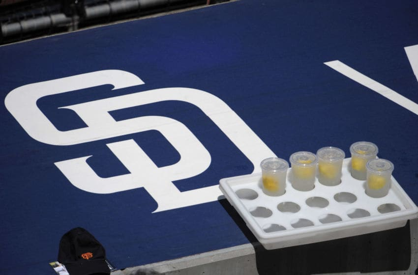 SAN DIEGO, CA - JULY 17: Glasses of lemonade sit next to the San Diego Padres logo during a baseball game between the San Francisco Giants and the San Diego Padres at Petco Park on July 17, 2011 in San Diego, California. (Photo by Denis Poroy/Getty Images)