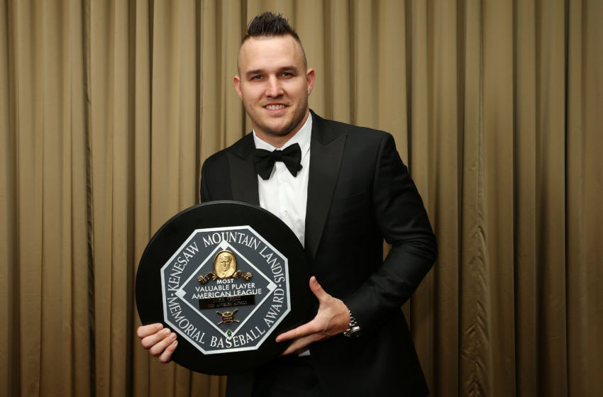 NEW YORK, NEW YORK - JANUARY 25: American League MVP Mike Trout of the Los Angeles Angels poses for a photo at the 97th annual New York Baseball Writers' Dinner on January 25, 2020 Sheraton New York in New York City. (Photo by Mike Stobe/Getty Images)