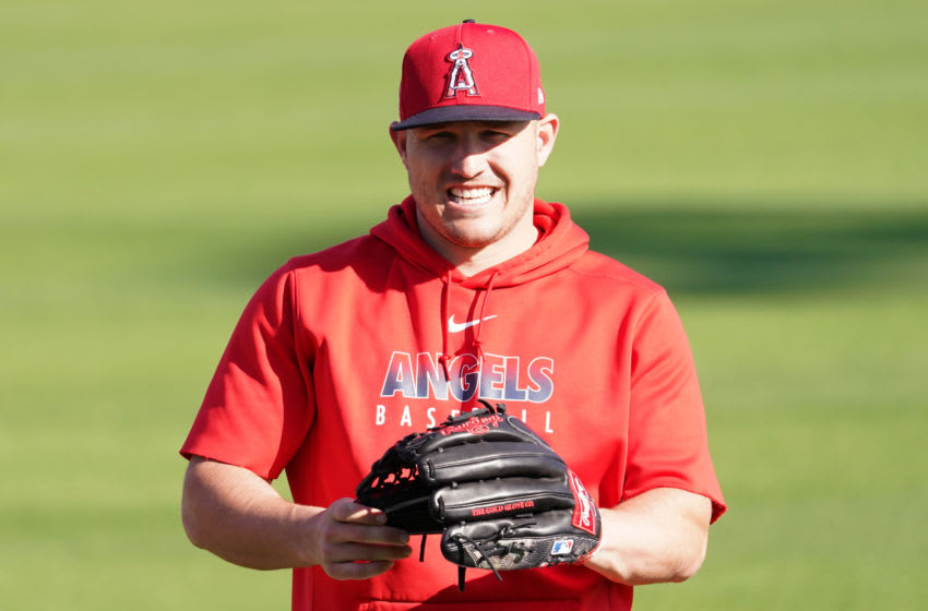 TEMPE, AZ - FEBRUARY 27: Mike Trout of the Los Angeles Angels smiles during a Los Angeles Angels Spring Training on February 27, 2020 in Tempe, Arizona. (Photo by Masterpress/Getty Images)