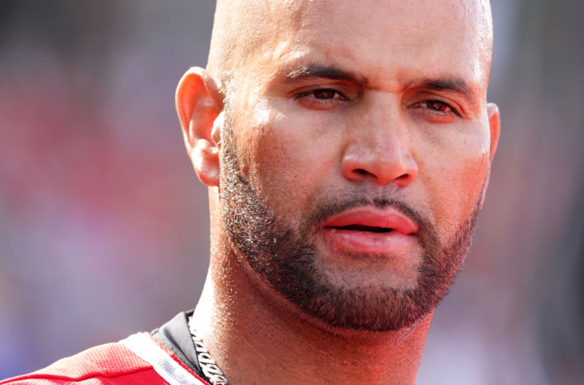 TEMPE, AZ - FEBRUARY 27: Albert Pujols of the Los Angeles Angels looks on during the spring training game against the San Diego Padres on February 27, 2020 in Tempe, Arizona. (Photo by Masterpress/Getty Images)