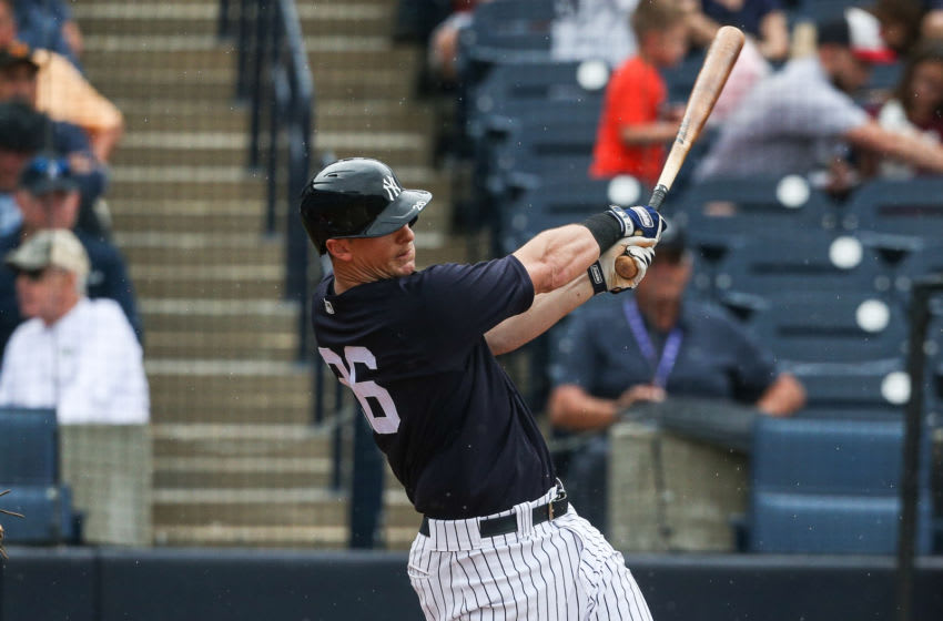TAMPA, FLORIDA - FEBRUARY 26: DJ LeMahieu #26 of the New York Yankees bats during a spring training game against the Washington Nationals at Steinbrenner Field on February 26, 2020 in Tampa, Florida. (Photo by John Capella/Sports Imagery/Getty Images)