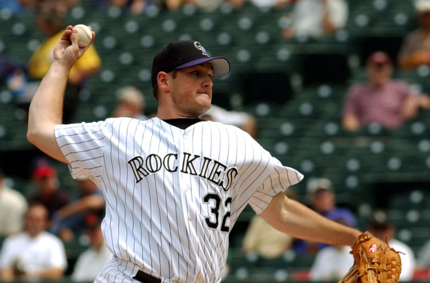 Colorado Rockies pitcher Jason Jennings pitches against the San Francisco Giants Thursday Aug. 28, 2003 at Coors Field in Denver. The Rockies defeated the Giants 6-1, with Jennings record going to 11-12. (Photo by Ken Levine/Getty Images)