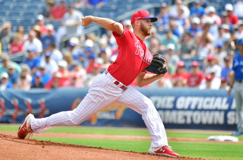 CLEARWATER, FLORIDA - MARCH 05: Zack Wheeler #45 of the Philadelphia Phillies delivers a pitch during the first inning of a Grapefruit League spring training game against the Toronto Blue Jays at Spectrum Field on March 05, 2020 in Clearwater, Florida. (Photo by Julio Aguilar/Getty Images)