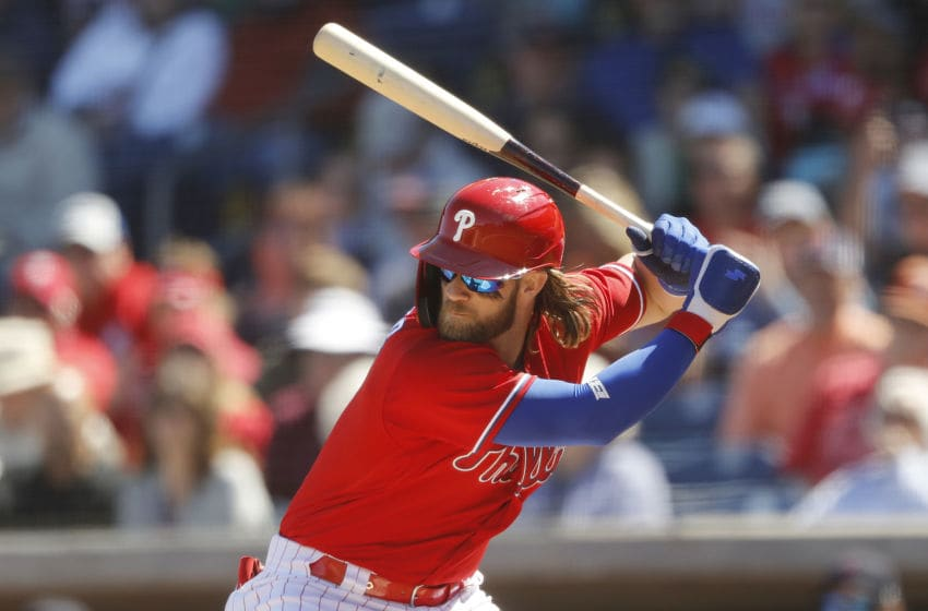 CLEARWATER, FLORIDA - MARCH 07: Bryce Harper #3 of the Philadelphia Phillies at bat against the Boston Red Sox during a Grapefruit League spring training game on March 07, 2020 in Clearwater, Florida. (Photo by Michael Reaves/Getty Images)