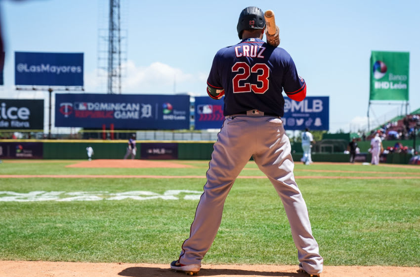 SANTO DOMINGO, DOM - MARCH 07: Nelson Cruz #23 of the Minnesota Twins looks on during a spring training game between the Minnesota Twins and the Detroit Tigers at Estadio Quisqueya Juan Marichal on March 7, 2020 in Santo Domingo, Dominican Republic. (Photo by Brace Hemmelgarn/Minnesota Twins/Getty Images)