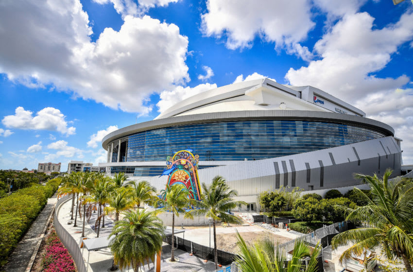 MIAMI, FLORIDA - MARCH 13: A general view of Marlins Park home of the Miami Marlins on March 13, 2020 in Miami, Florida. Major League Baseball is suspending Spring Training and delaying the start of the regular season by at least two weeks due to the ongoing threat of the Coronavirus (COVID-19) outbreak.(Photo by Mark Brown/Getty Images)