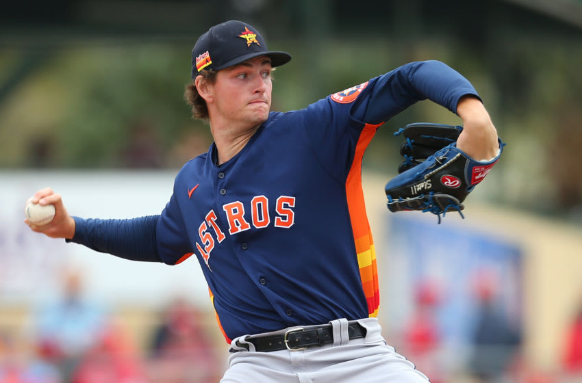 Forrest Whitley #68 of the Houston Astros in action against the St. Louis Cardinals during a spring training baseball game at Roger Dean Chevrolet Stadium on March 7, 2020 in Jupiter, Florida. The Cardinals defeated the Astros 5-1. (Photo by Rich Schultz/Getty Images)