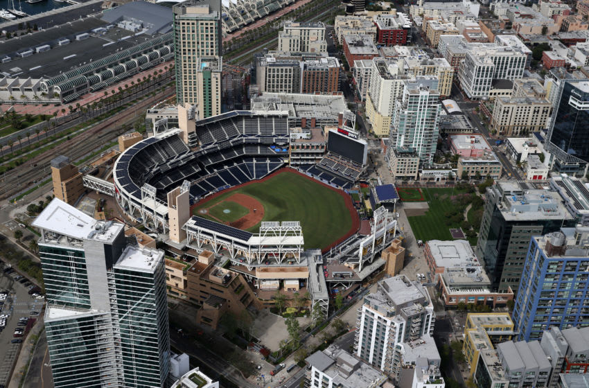 SAN DIEGO, CA - MARCH 20: An aerial view of Petco Park stadium on March 20, 2020 in San Diego, California. Major League Baseball has postponed the beginning of the 2020 season due to the coronavirus (COVID-19) pandemic. Photo by Sean M. Haffey/Getty Images)