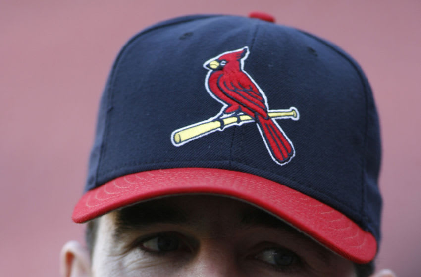 Jim Edmonds of the Cardinals waits to take batting practice prior to game 5 of the NLCS between the New York Mets and St. Louis Cardinals at Busch Stadium in St. Louis, Missouri on October 17, 2006. (Photo by G. N. Lowrance/Getty Images)
