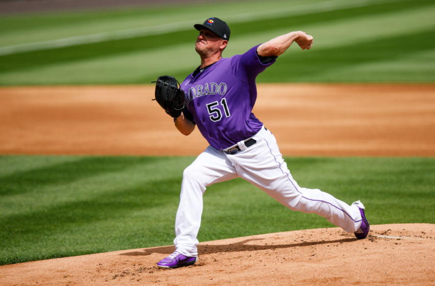 DENVER, CO - JULY 4: Jake McGee #51 of the Colorado Rockies pitches from the mound during Major League Baseball Summer Workouts at Coors Field on July 4, 2020 in Denver, Colorado. (Photo by Justin Edmonds/Getty Images)
