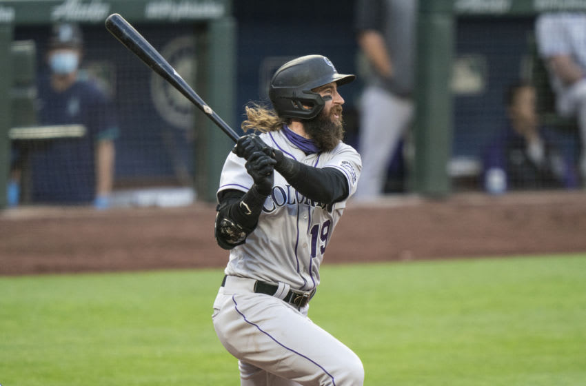 SEATTLE, WA - AUGUST 08: Charlie Blackmon #19 of the Colorado Rockies hits a three-run double off of relief pitcher Joey Gerber #59 of the Seattle Mariners that scored Garrett Hampson #1 of the Colorado Rockies, Trevor Story #27 and Ryan McMahon #24 during the fifth inning of a game at T-Mobile Park on August, 8, 2020 in Seattle, Washington. (Photo by Stephen Brashear/Getty Images)