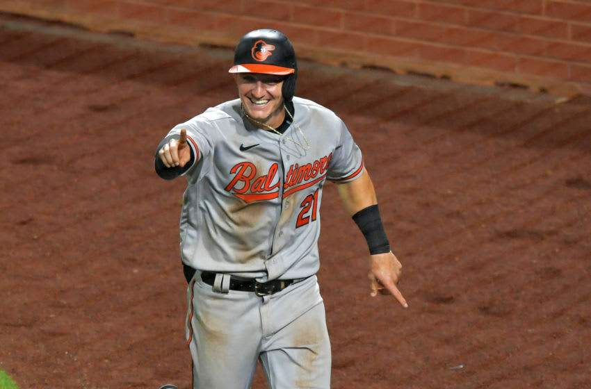 PHILADELPHIA, PA - AUGUST 11: Austin Hays #21 of the Baltimore Orioles celebrate his two run home run in the 10th inning against the Philadelphia Phillies at Citizens Bank Park on August 11, 2020 in Philadelphia, Pennsylvania. The Orioles won 10-9 in extra innings. (Photo by Drew Hallowell/Getty Images)