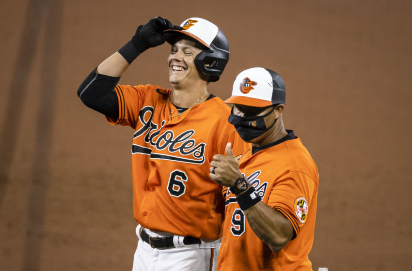 BALTIMORE, MD - AUGUST 22: Ryan Mountcastle #6 of the Baltimore Orioles celebrates after his first career hit during the ninth inning against the Boston Red Sox at Oriole Park at Camden Yards on August 22, 2020 in Baltimore, Maryland. (Photo by Scott Taetsch/Getty Images)