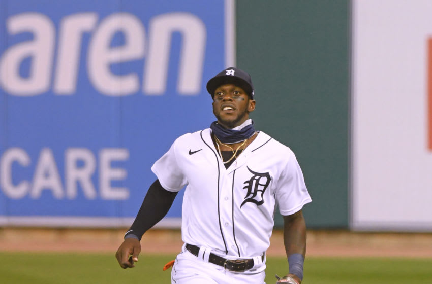AUGUST 14: Cameron Maybin #4 of the Detroit Tigers fields during the game against the Cleveland Indians at Comerica Park on August 14, 2020 in Detroit, Michigan. The Indians defeated the Tigers 10-5. (Photo by Mark Cunningham/MLB Photos via Getty Images)