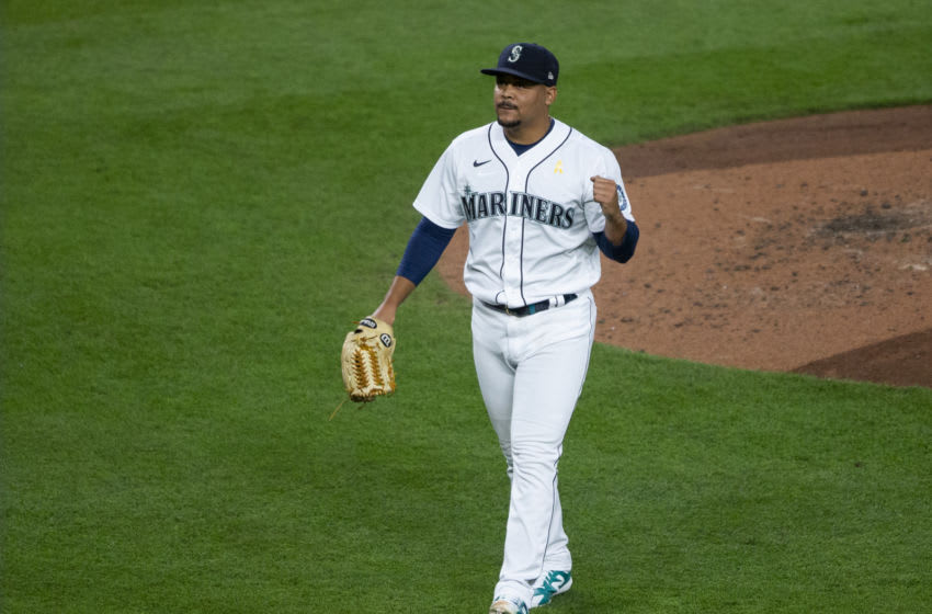 SEATTLE, WA - SEPTEMBER 05: Justus Sheffield #33 of the Seattle Mariners pumps his fist after pitching in the fifth inning against the Texas Rangers at T-Mobile Park on September 5, 2020 in Seattle, Washington. (Photo by Lindsey Wasson/Getty Images)