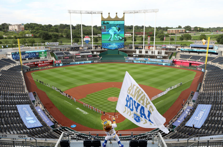 KANSAS CITY, MISSOURI - JULY 31: A general view the Kansas City Royals mascot Sluggerrr as he waves a flag during player introductions prior to the Opening Day gameat Kauffman Stadium on July 31, 2020 in Kansas City, Missouri. (Photo by Jamie Squire/Getty Images)