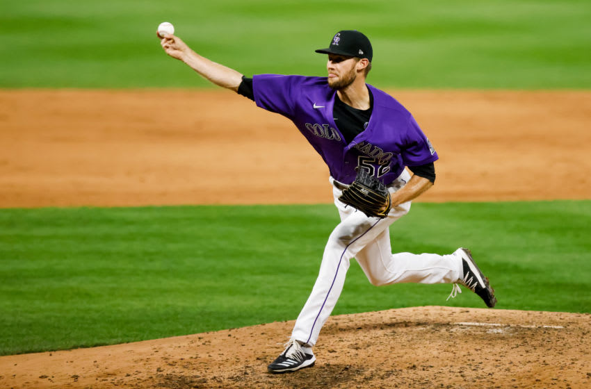 DENVER, CO - AUGUST 10: Relief pitcher Daniel Bard #52 of the Colorado Rockies during the sixth inning against the Arizona Diamondbacks at Coors Field on August 10, 2020 in Denver, Colorado. The Diamondbacks defeated the Rockies 12-8. (Photo by Justin Edmonds/Getty Images)