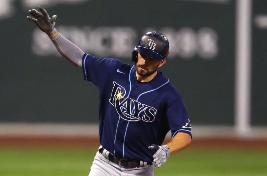 BOSTON, MASSACHUSETTS - AUGUST 12: Brandon Lowe #8 of the Tampa Bay Rays celebrates after hitting a two run home run during the second inning against the Boston Red Sox at Fenway Park on August 12, 2020 in Boston, Massachusetts. (Photo by Maddie Meyer/Getty Images)