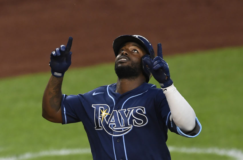 NEW YORK, NEW YORK - SEPTEMBER 02: Randy Arozarena #56 of the Tampa Bay Rays reacts after hitting a two-run home run during the first inning against the New York Yankees at Yankee Stadium on September 02, 2020 in the Bronx borough of New York City. (Photo by Sarah Stier/Getty Images)