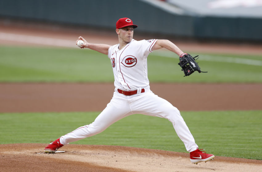 CINCINNATI, OH - AUGUST 31: Anthony DeSclafani #28 of the Cincinnati Reds pitches during a game against the St Louis Cardinals at Great American Ball Park on August 31, 2020 in Cincinnati, Ohio. The Cardinals defeated the Reds 7-5. (Photo by Joe Robbins/Getty Images)