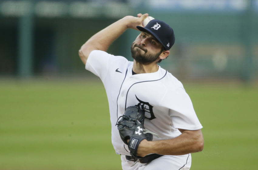 DETROIT, MI - AUGUST 26: Michael Fulmer #32 of the Detroit Tigers pitches against the Chicago Cubs at Comerica Park on August 26, 2020 in Detroit, Michigan. (Photo by Duane Burleson/Getty Images)