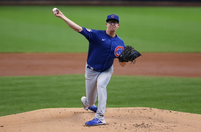 MILWAUKEE, WISCONSIN - SEPTEMBER 13: Alec Mills #30 of the Chicago Cubs pitches in the first inning against the Milwaukee Brewers at Miller Park on September 13, 2020 in Milwaukee, Wisconsin. (Photo by Dylan Buell/Getty Images)