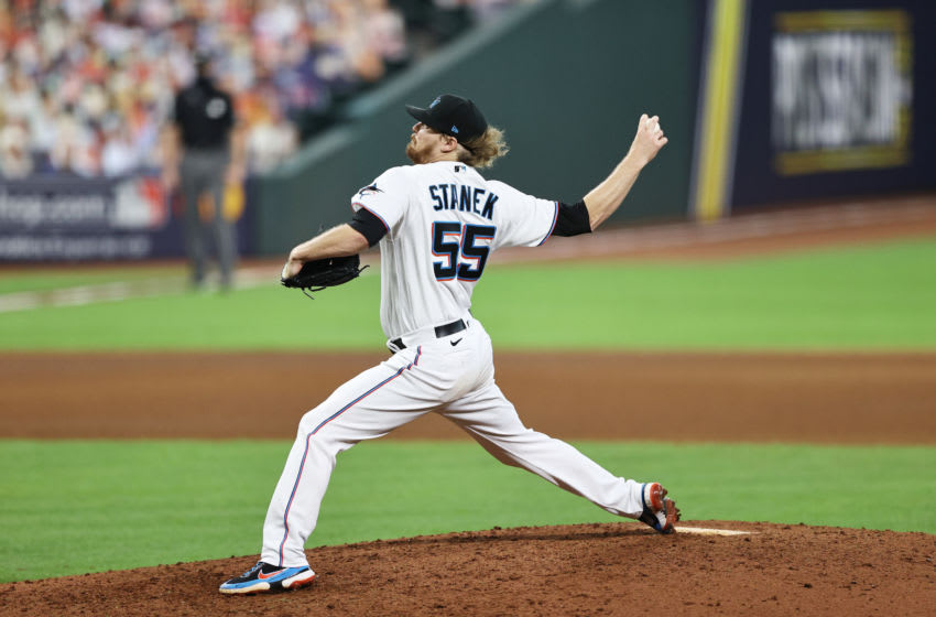 Ryne Stanek #55 of the Miami Marlins delivers a pitch during the seventh inning against the Atlanta Braves in Game Three of the National League Division Series at Minute Maid Park on October 08, 2020 in Houston, Texas. (Photo by Elsa/Getty Images)