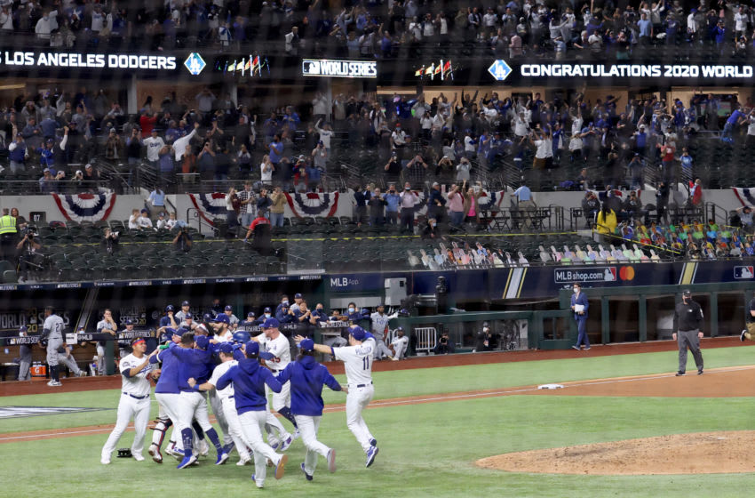 ARLINGTON, TEXAS - OCTOBER 27: The Los Angeles Dodgers celebrate after defeating the Tampa Bay Rays to win the 2020 MLB World Series on October 27, 2020. (Photo by Tom Pennington/Getty Images)