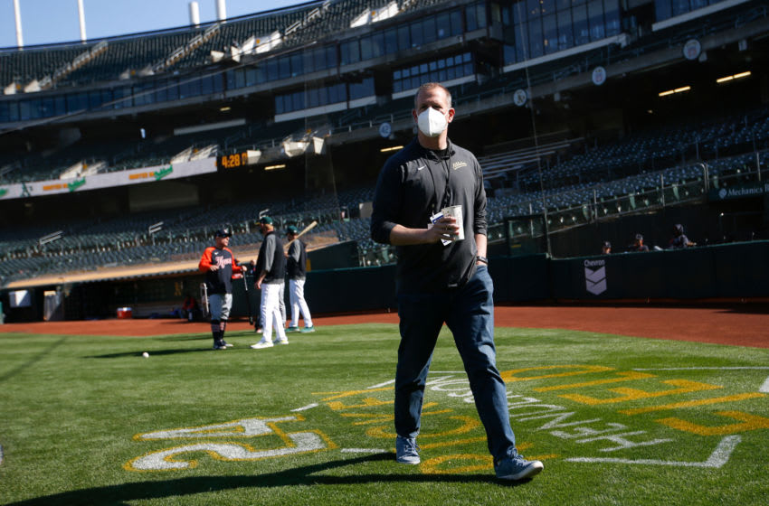 OAKLAND, CA - April 16: General Manager David Forst of the Oakland Athletics on the field before the game against the Detroit Tigers at RingCentral Coliseum on April 16, 2021 in Oakland, California. The Athletics defeated the Tigers 3-0. (Photo by Michael Zagaris/Oakland Athletics/Getty Images)