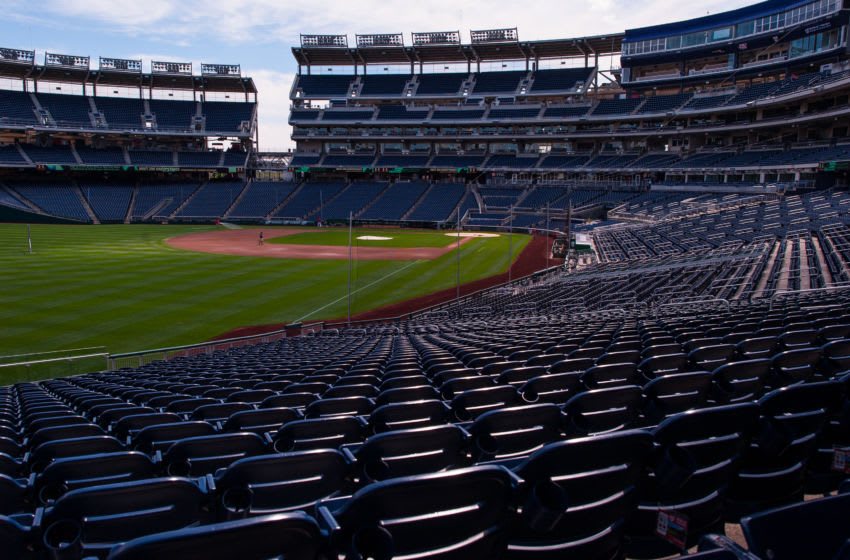 WASHINGTON, DC - SEPTEMBER 19: A general view of empty stadium seats at Nationals Park before the game between the Washington Nationals and the Los Angeles Dodgers at Nationals Park on September 19, 2012 in Washington, DC. (Photo by Rob Tringali/SportsChrome/Getty Images)