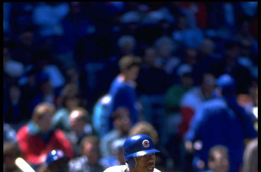 18 May 1994: Batter Tuffy Rhodes of the Chicago Cubs drops his bat and starts to run to first base after an at bat against the San Diego Padres at Wrigley Field in Chicago, Illinois. Mandatory Credit: Jonathan Daniel/Allsport